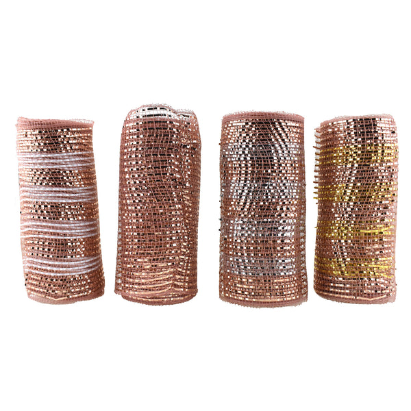 Metallic Mesh Wrap Ribbon, Rose Gold, 6-Inch, 5-Yard, 4-Piece