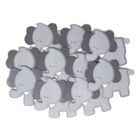 Elephant Animal Wooden Baby Favors, Grey, 3-1/2-inch, 10-Piece