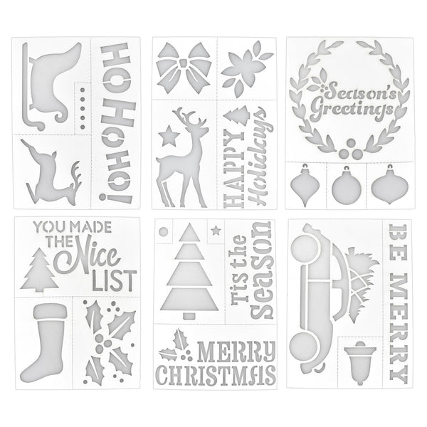 Christmas Assorted Adhesive Back Paper Stencils, 8-Inch, 6-Piece