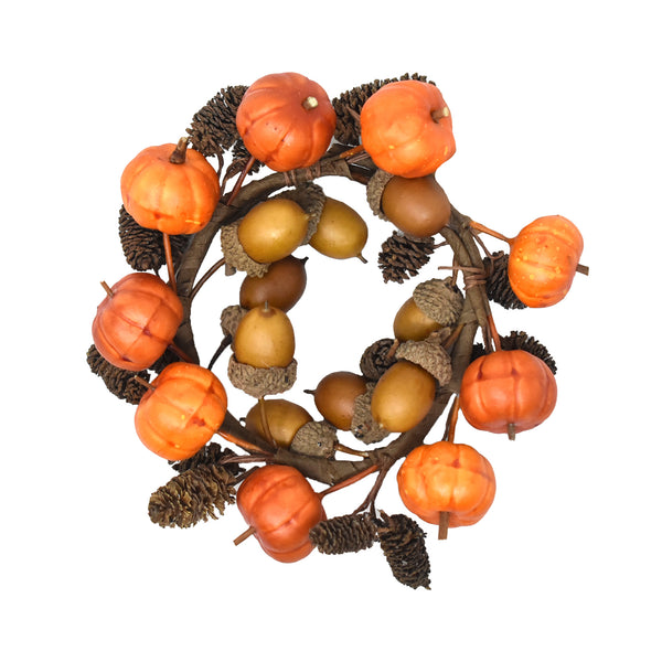Autumn Pumpkin Branch Candle Ring, 2-1/2-Inch