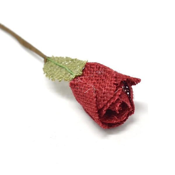 Rose and Leaf Burlap Flower Pick, Red, 5-1/2-Inch