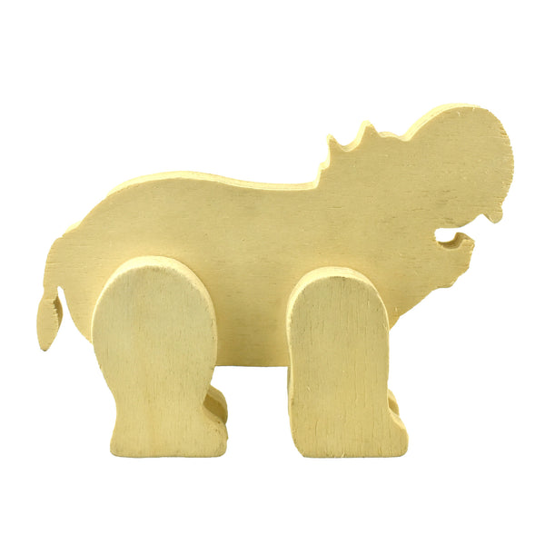 Wood Craft Standing Hippopotamus, 6-1/2-Inch