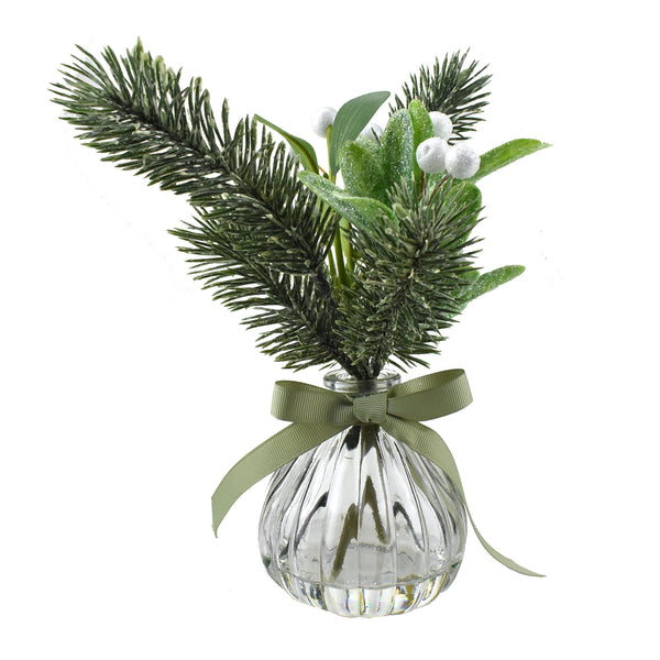 Artificial Snowy Mistletoe and Pine Leaves in Vase, 9-Inch
