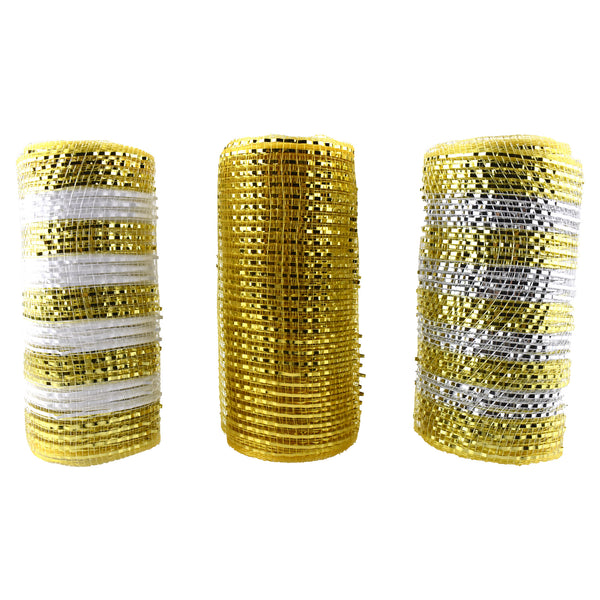 Metallic Mesh Wrap Ribbon, Gold, 6-Inch, 5-Yard, 3-Piece
