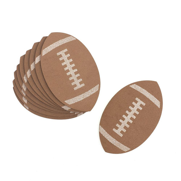 Football Foam Glittered Cutouts, 5-Inch, 10-Count