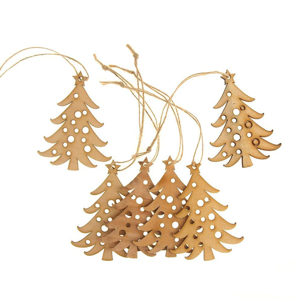 "Hanging Wooden Laser-Cut "" Christmas Tree"" Christmas Tree Ornament, 2.4-Inch x 3-Inch, 6-Piece"