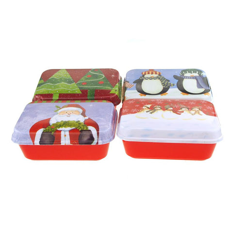 Christmas Cookie Plastic Rectangle Containers, 4-Style, 8-1/2-Inch, Red