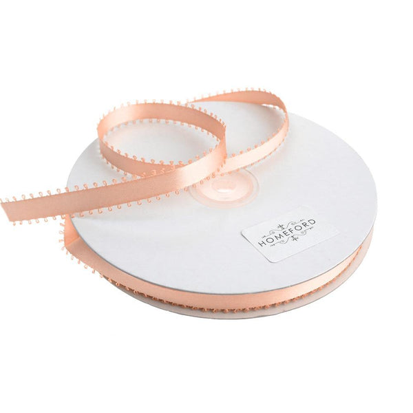 Picot-edge Double Face Satin Ribbon, Light Peach, 3/8-Inch, 50 Yards