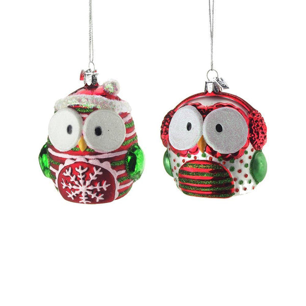 Hanging Glass Owl Christmas Tree Ornament with Glitter, Red/Green/White, 3-1/2-Inch, 2 Piece
