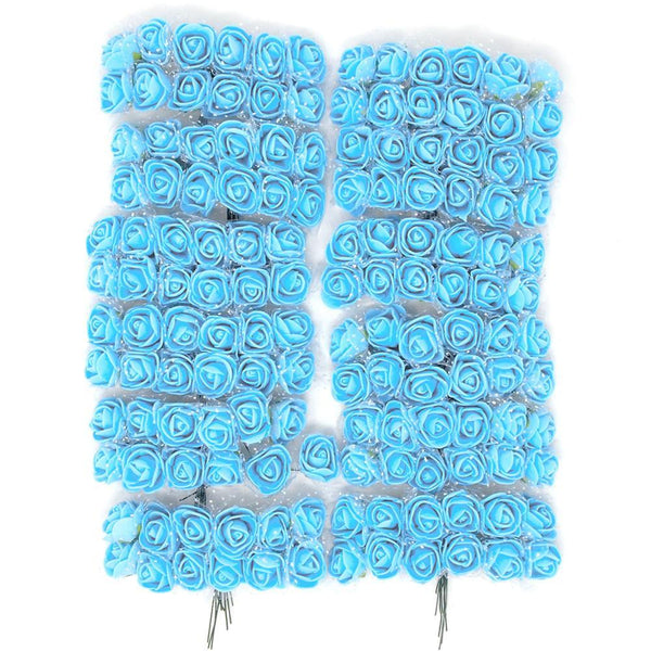 Foam Flower Picks with Bendable Stem, Blue, 3/4-Inch, 144-Count