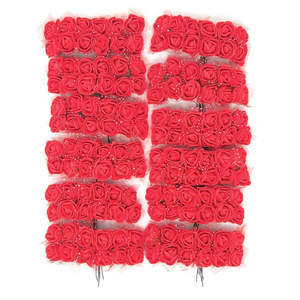 Foam Flower Picks with Bendable Stem, Red, 3/4-Inch, 144-Count