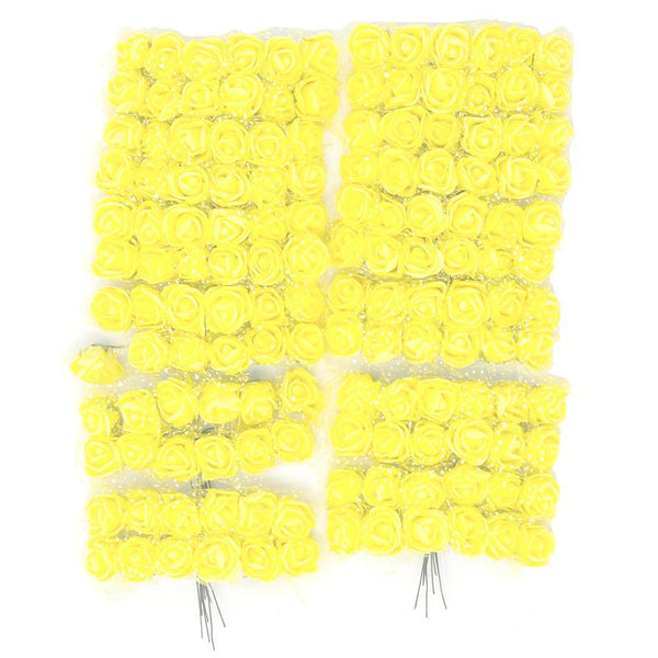 Foam Flower Picks with Bendable Stem, Yellow, 3/4-Inch, 144-Count