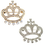 Rhinestone Queen Crown Brooch Pin, 1-1/2-Inch