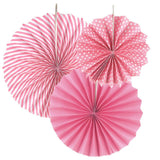 Paper Rosette Pinwheel Party Backdrop Fans, Assorted Sizes, 3-Piece