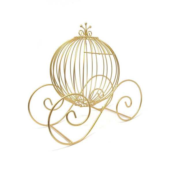 Metal Wire Pumpkin Coach, 12-Inch, Gold