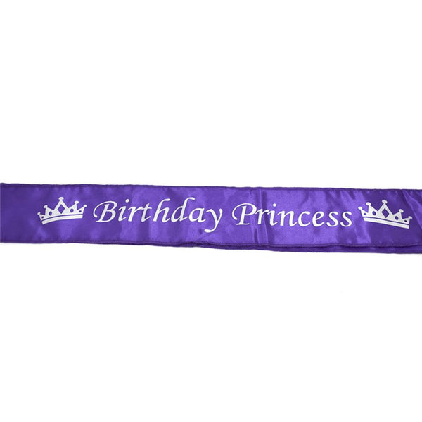 Satin Birthday Princess Sash, Purple, 29-Inch