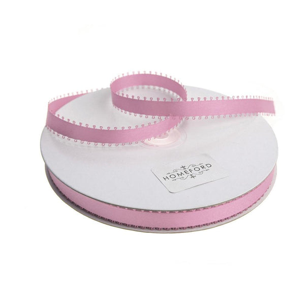 Picot-edge Double Face Satin Ribbon, Rosy Mauve, 3/8-Inch, 50 Yards