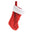 Christmas Stocking with Faux Fur Cuff, Red/White, 16-inch