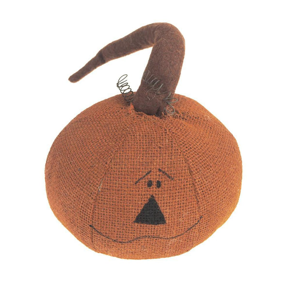 Halloween Stuffed Burlap Curlicue Pumpkin Head, Orange, 6-1/2-Inch
