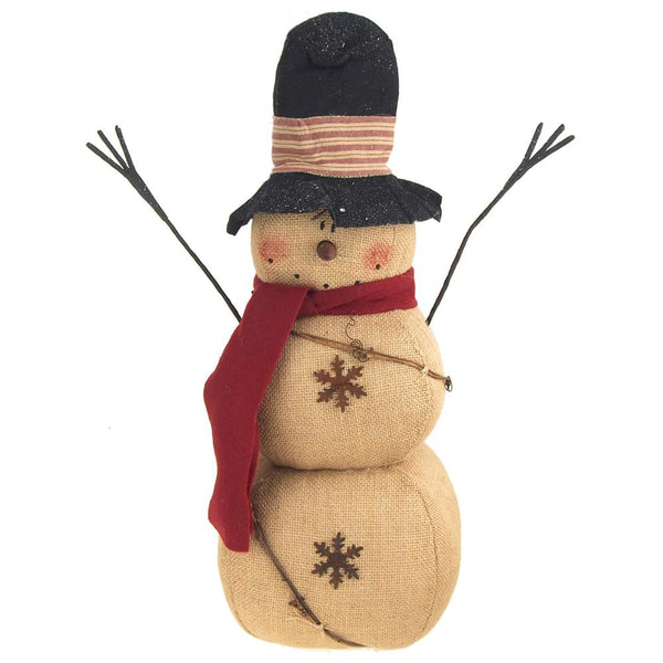 Primitive Snowman Burlap Stuffed Holiday Winter Decor, Natural, 20-Inch