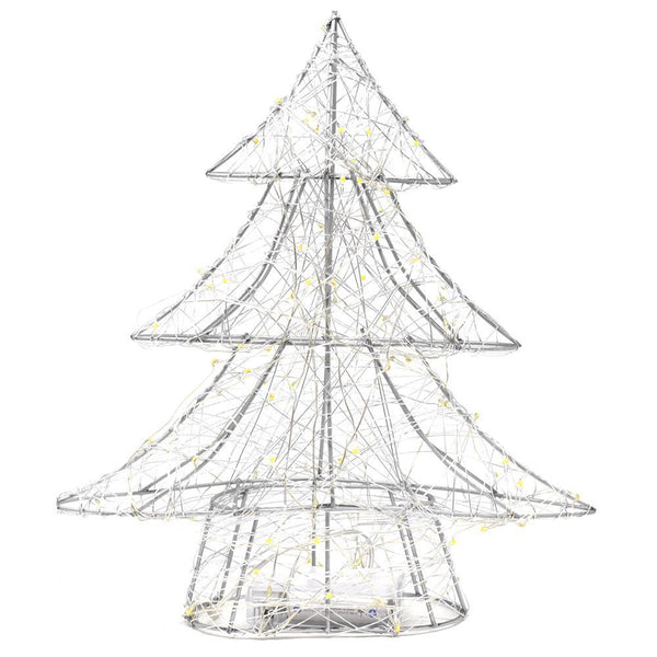 LED Metal Wired Christmas Tree Stand, Silver, 12-Inch