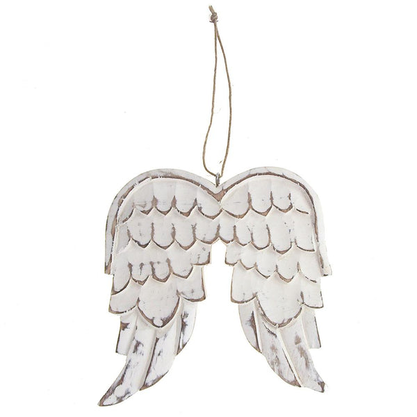 Wooden Distressed Angel Wing Christmas Ornament, White, 7-Inch