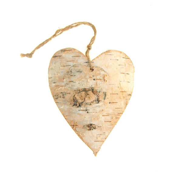 Wooden Heart with Birch Christmas Ornament, Natural, 4-Inch