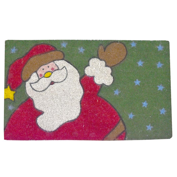 Santa Claus and Stars Christmas Coir Doormat, 29-1/2 x 18-Inch
