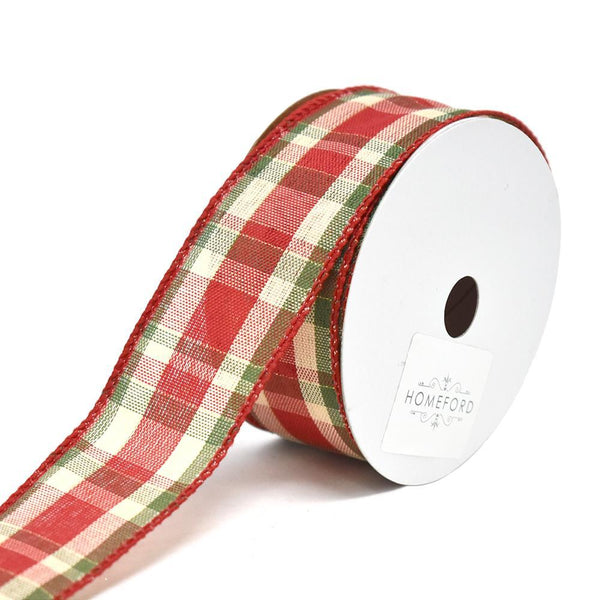 Plaid Prime Wired Christmas Ribbon, 1-1/2-Inch, 10-Yard