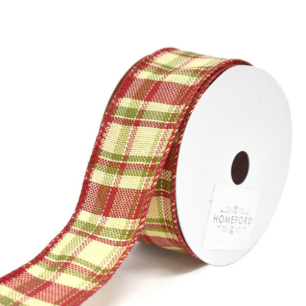 Cranberry Moss Plaid Wired Christmas Ribbon, 1-1/2-Inch, 10-Yard