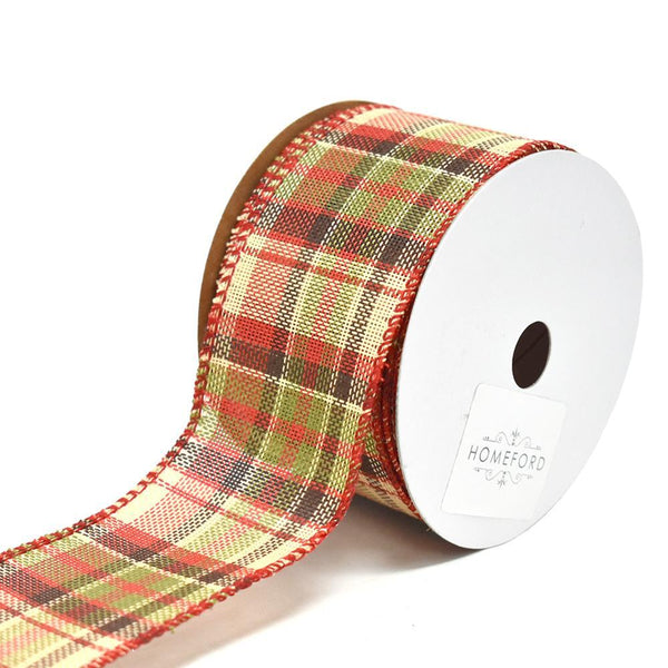 Vintage Hopsack Plaid Wired Christmas Ribbon, 2-1/2-Inch, 10-Yard