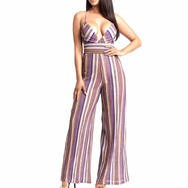 Metallic Striped Jumpsuit