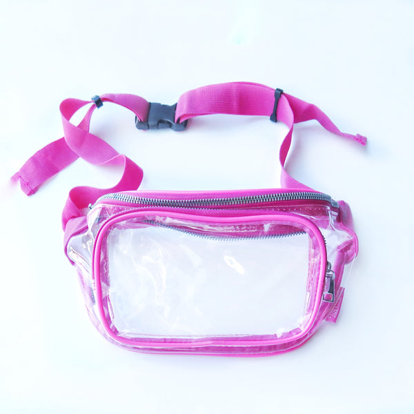 Clear Fanny Pack-Pink Trim