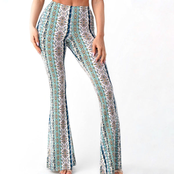 Tapestry Print Bellbottoms in Mint