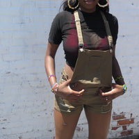 Overall Shorts in Olive