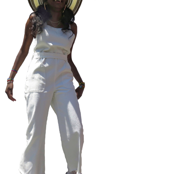 White Denim Jumpsuit