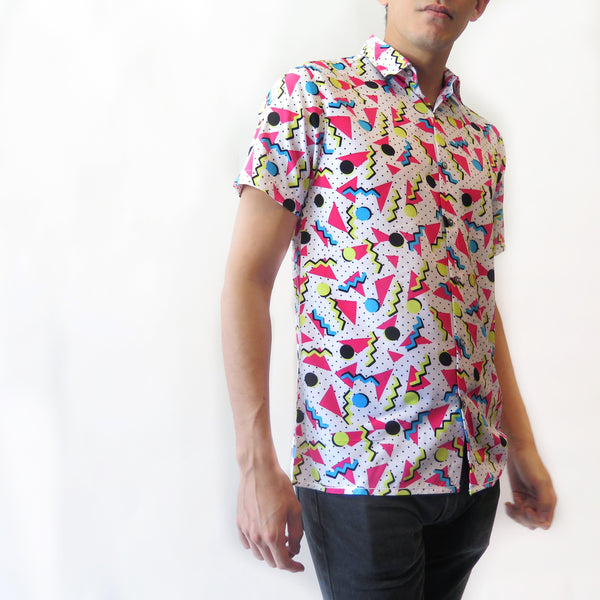 80's Print Button Front Shirt