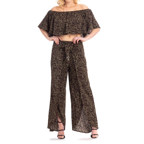 Olive Leopard Top and Pant Set