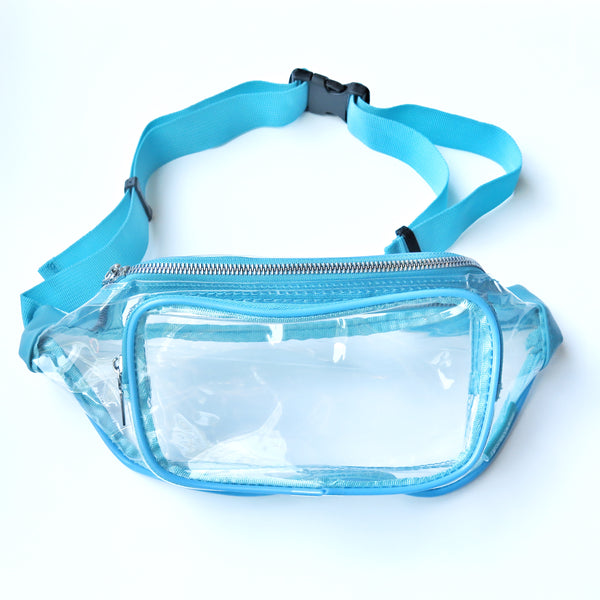 Clear Fanny Pack-Turquoise Trim