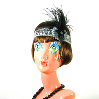 Silver Flapper Headband with Black Feather