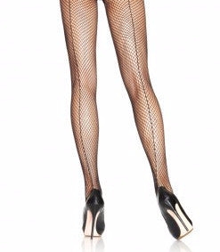 Fishnet Tights with a Black Back Seam