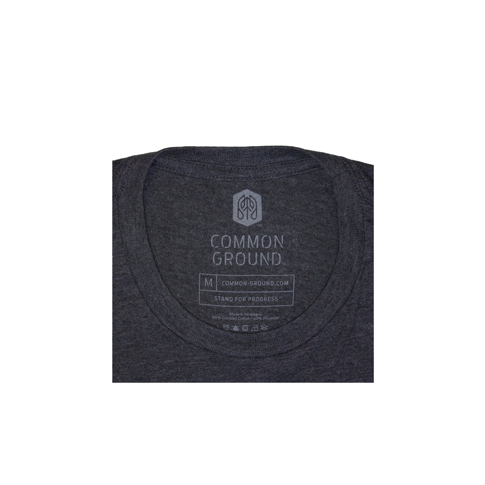 Charcoal -  Common Ground Badge T shirt Neck Tag View