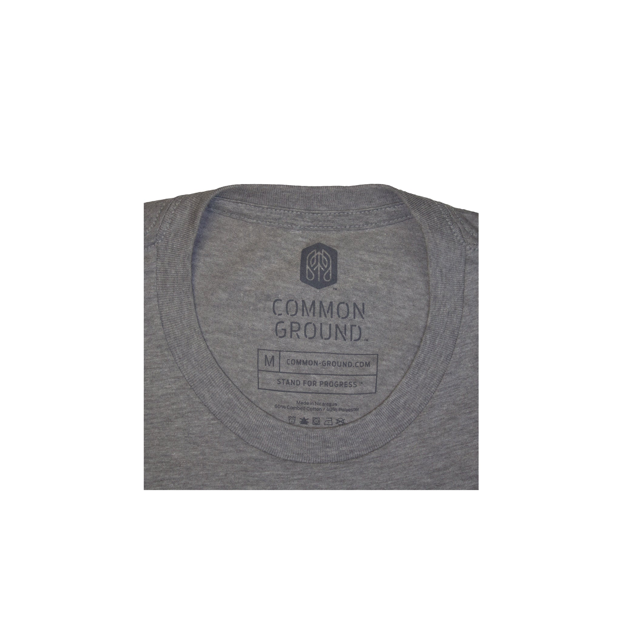 Dark_Heather_Gray - Common Ground T shirt Neck Tag View