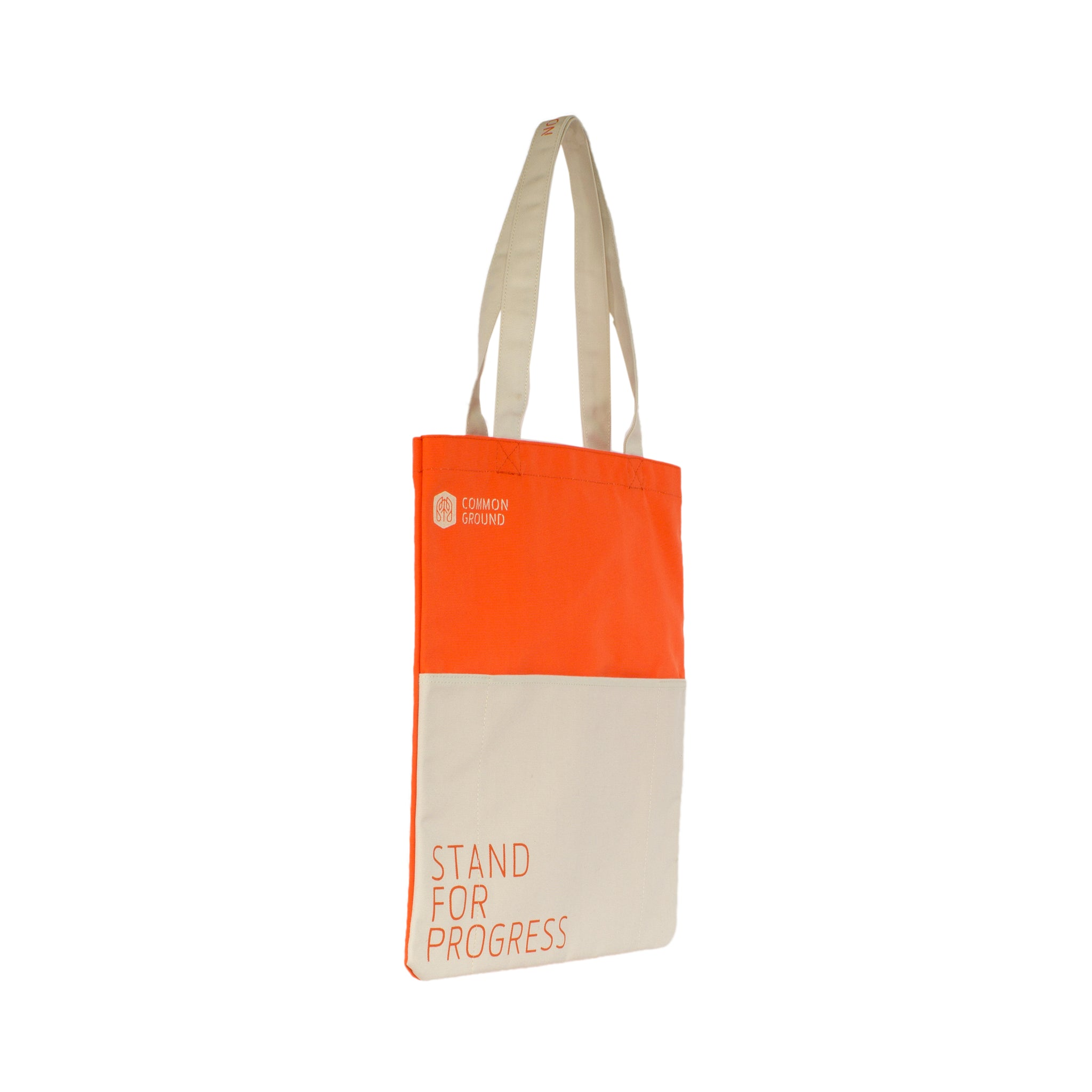 Vibrant_Orange - Common Ground Reading Tote Three Quarter View