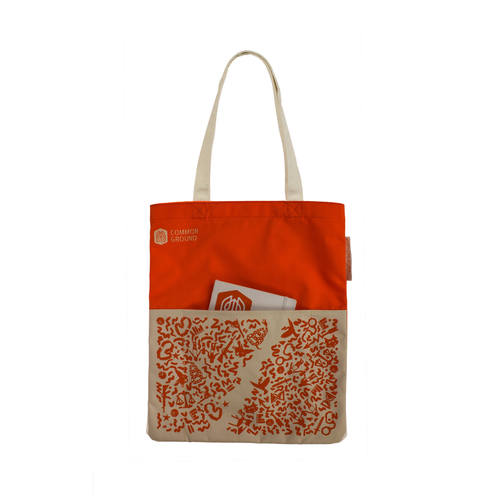 Vibrant_Orange - Common Ground Reading Tote Front External Pocket View