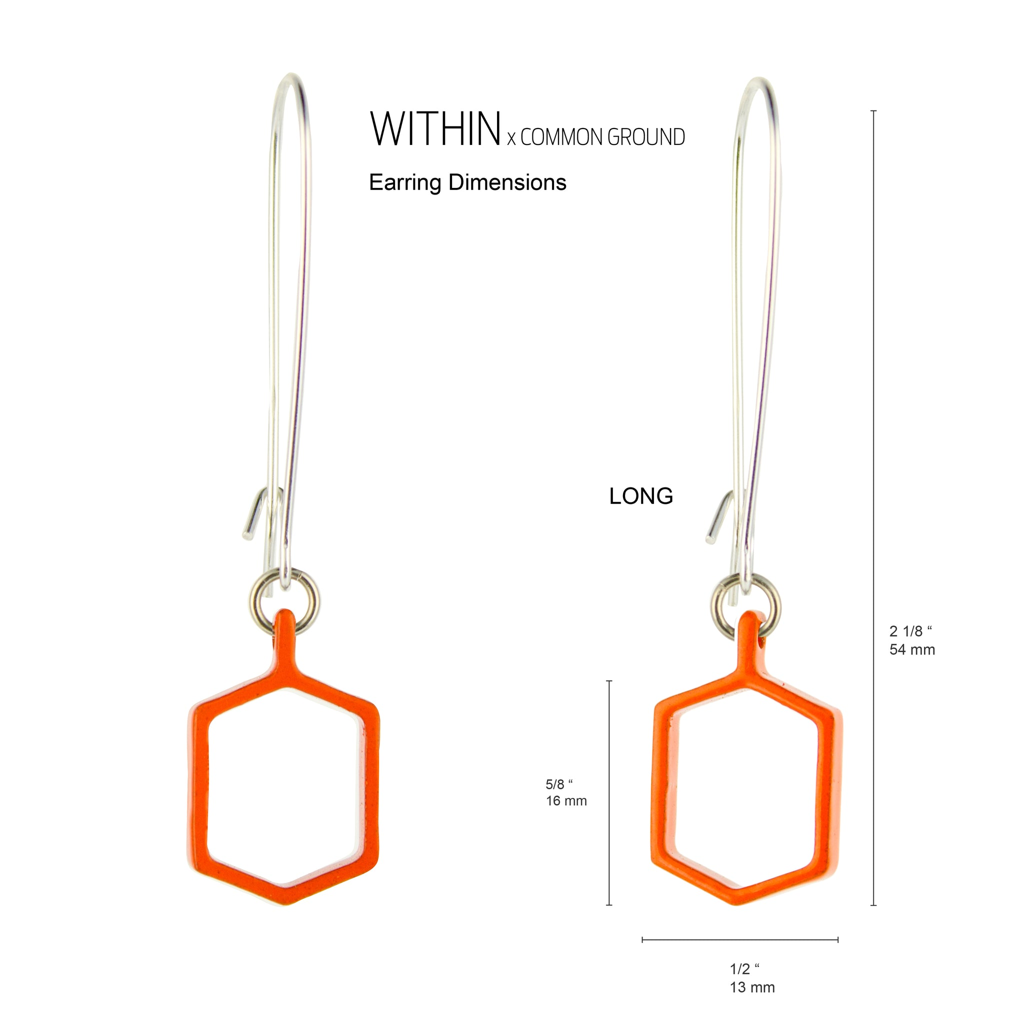 Vibrant_Orange - WITHIN x COMMON GROUND Earring Flat View