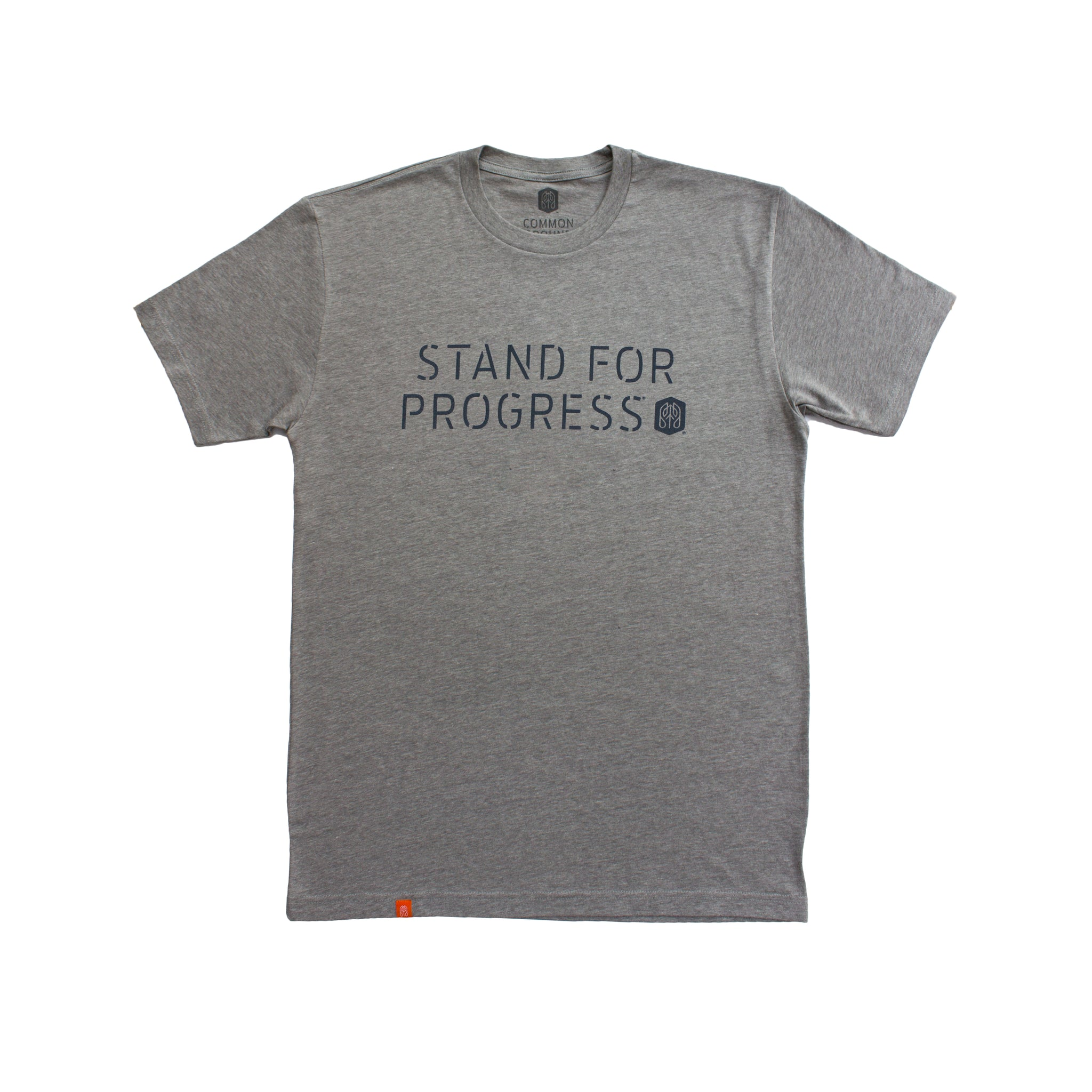 Dark_Heather_Gray - Common Ground T shirt Front View