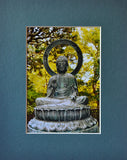 Serenity 8X10 Matted Photo Buddha Buddhism Buddhist Scupture New Age Interest Japanese Tea Gardens
