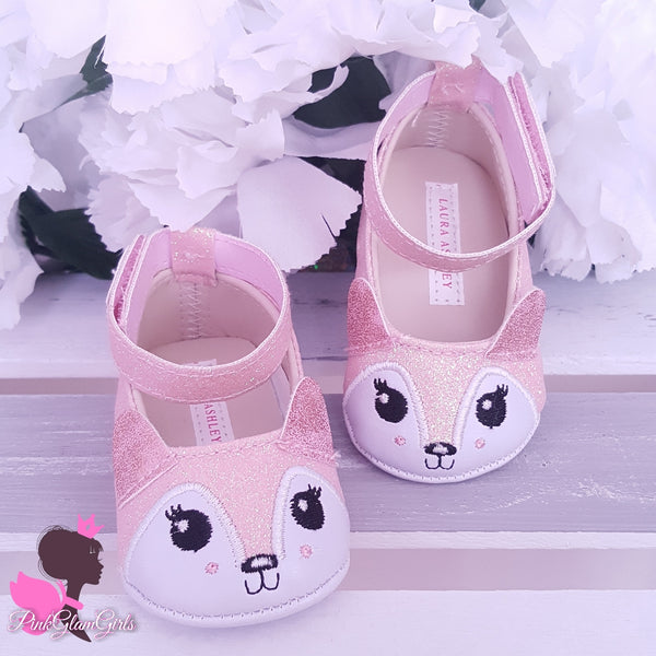 Cute Glitter Fox Baby Shoes