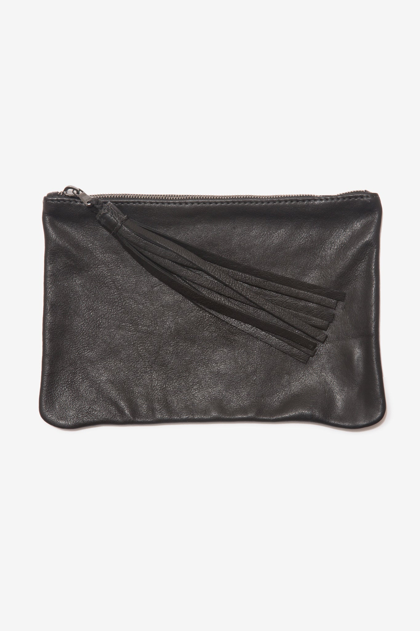 The Large Black Pouch is a large leather pouch with a leather tassel zip by Moses Nadel.